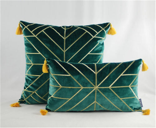 Geometric Embroidered Gold & Tassels  Velvet Cushion Cover - Dark Green (DC-191)