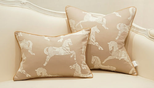 Horses -  Luxury Detailed Cushion Cover -Latte (DC-200)