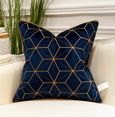 Luxury Gold and Blue Velvet  Decorative Cushion Cover  (DCN-2D)
