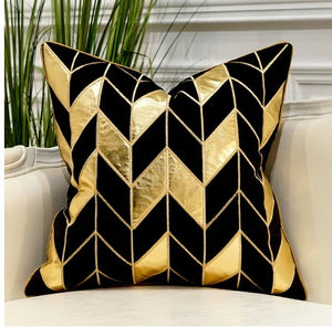 Luxury Black and Gold Velvet  Decorative Cushion Cover  (DCN-1A)