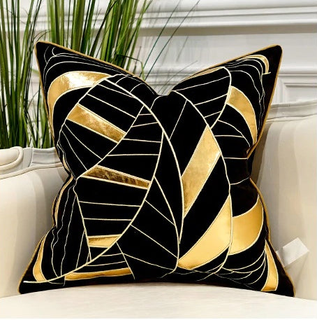 Luxury Black and Gold Velvet  Decorative Cushion Cover  (DCN-1B)