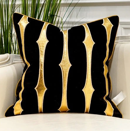 Luxury Black and Gold Velvet  Decorative Cushion Cover  (DCN-1C)
