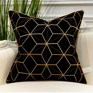 Luxury Black and Gold Velvet  Decorative Cushion Cover  (DCN-1D)