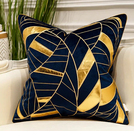 Luxury Gold and Blue Velvet  Decorative Cushion Cover  (DCN-2A)