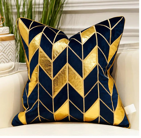 Luxury Gold and Blue Velvet  Decorative Cushion Cover  (DCN-2B)