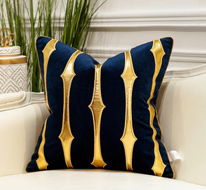 Luxury Gold and Blue Velvet  Decorative Cushion Cover  (DCN-2C)