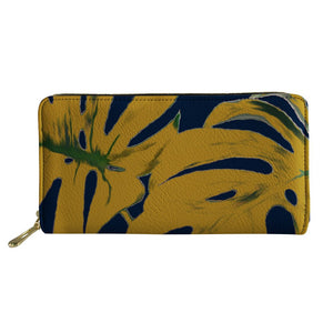 Wallet - Mustard leaves on Navy - (G-11)
