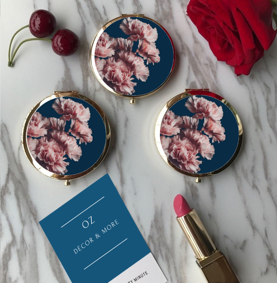 Compact Mirror -Pink Floral On Navy - (G-28)