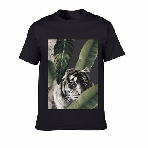 Short sleeve Men's T-shirt  - Tiger - Black/White/Grey (G-T-08)