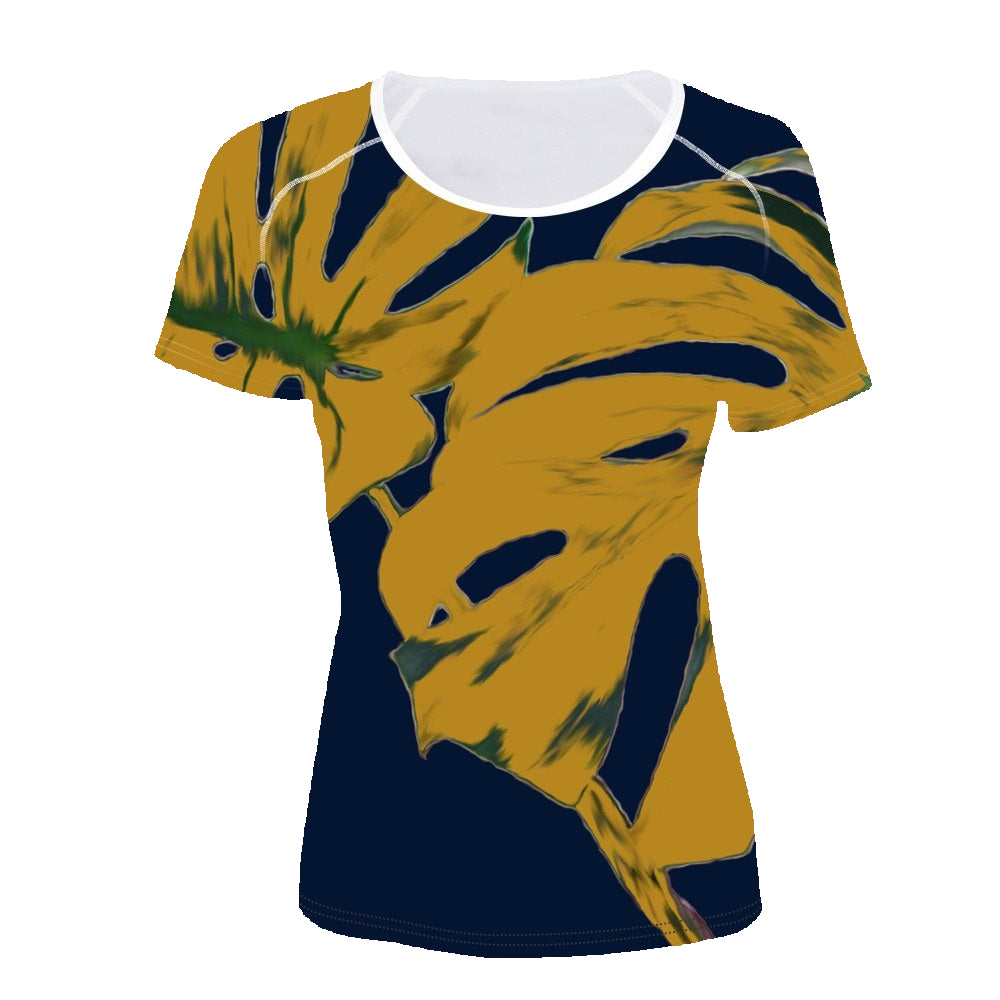 Short sleeve Woman's T-shirt  2 sides print- Leaves on Navy (G-T-49)