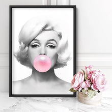 Wall art- Marilyn Bubblegum - Framed/ Unframed Art print (A-605)