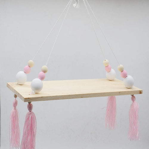Decor - Wooden wall shelf- White /Pink/Natural Beads (D-42.2)