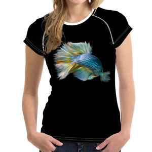 Short sleeve Woman's T-shirt  2 sides print-Fighting Fish (G-T-07)
