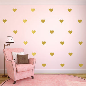 Wall Stickers Decor   42pcs /32 Pcs Removable Golden Hearts Wall Decals (W