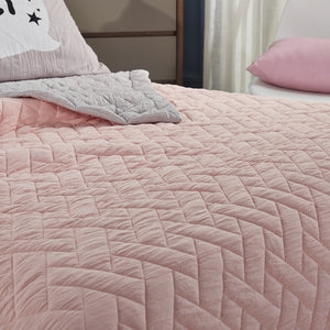 Bedding - Summer  patchwork Quilt cover and pillowcases - Blush (B-3)