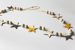 Decor- Wooden Star Wall Flag / Garland - Yellow (D-17.3)