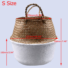 Storage/Decor - Natural and White Sea grass Woven Basket (S-13)