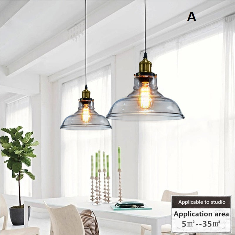 Lighting- Industrial Retro style Pendant Light luminaries lampshade Glass (2 styles available) (L-4)