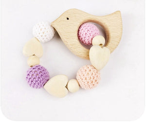 Toy - Baby Wooden Bird  Teething Rattle (T-7.1)