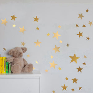 Wall Stickers Decor   42pcs Golden Stars Wall Stickers (W 8)