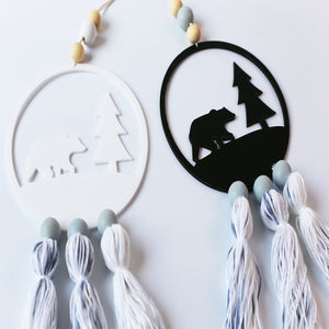 Decor- Nordic style Wooden Beads with Tassel Dream Catcher Wall Hanging Decor (D-18)
