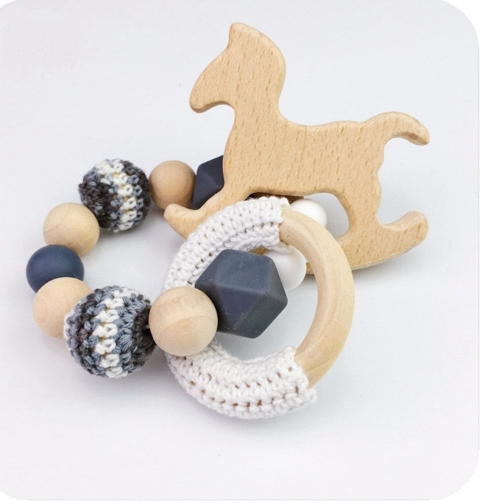 Toy - Baby Rattle  Horse Wood - Black (T-5)