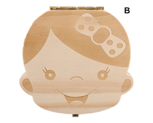 Decor- Wood Baby Girl /Boy Tooth Organizer /Keepsake Box clear wood or painted (D-8)