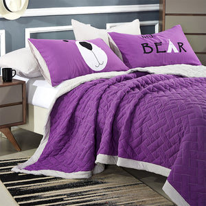 Bedding - Summer  patchwork Quilt cover and pillowcases - Purple (B-4)