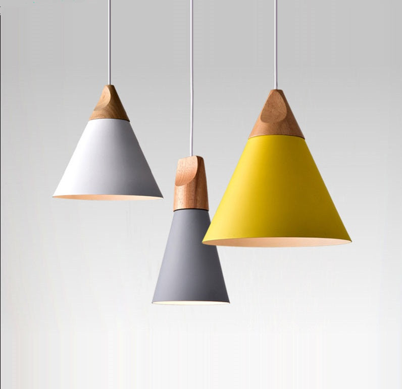 Lighting- Modern Aluminum and wood pendant light (L-9)
