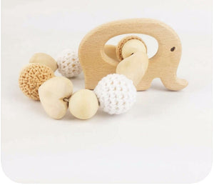 Toy - Baby Wooden  Elephant Teething Rattle (T-7)