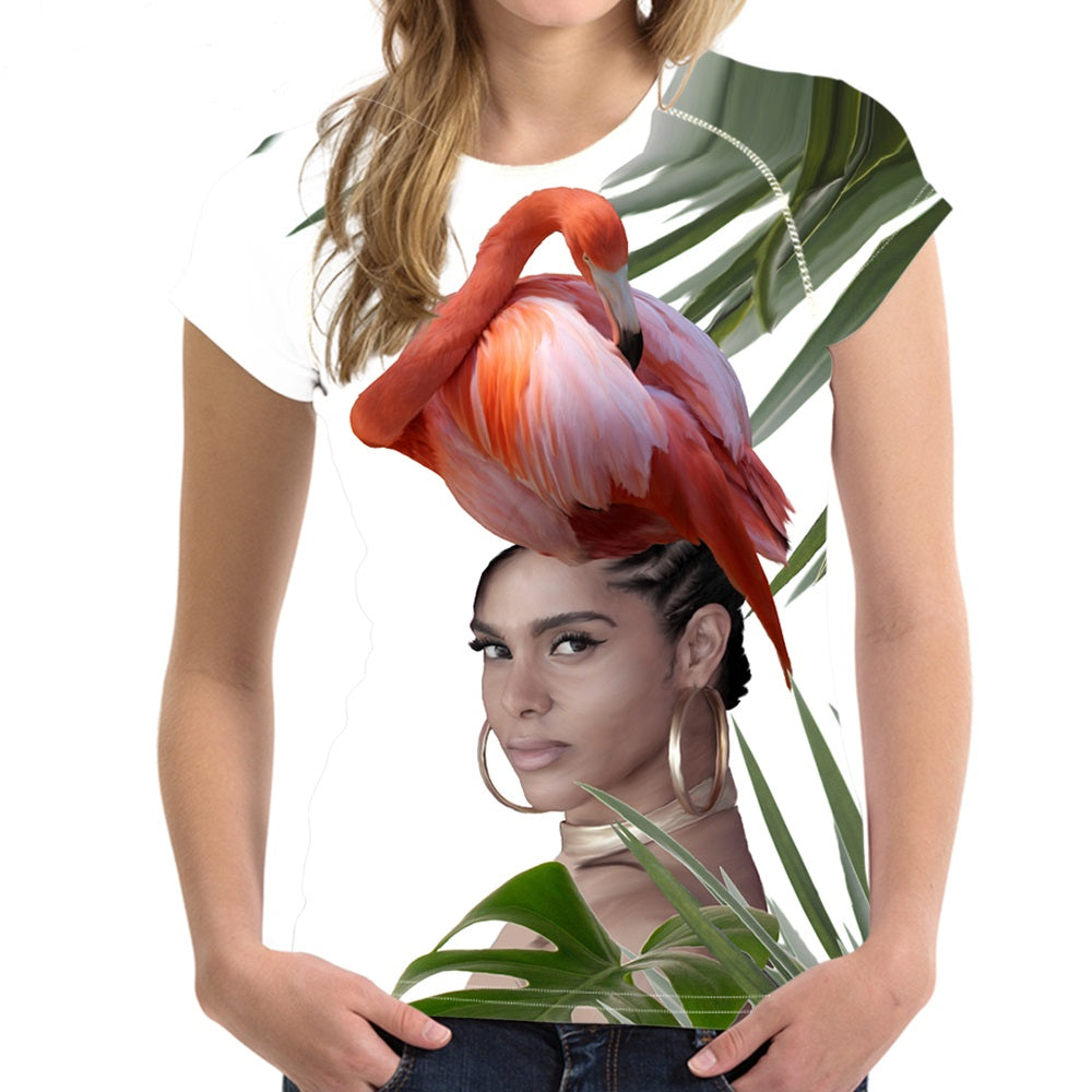 Short sleeve Woman's T-shirt  2 sides print-Flamingo Woman (G-T-06)