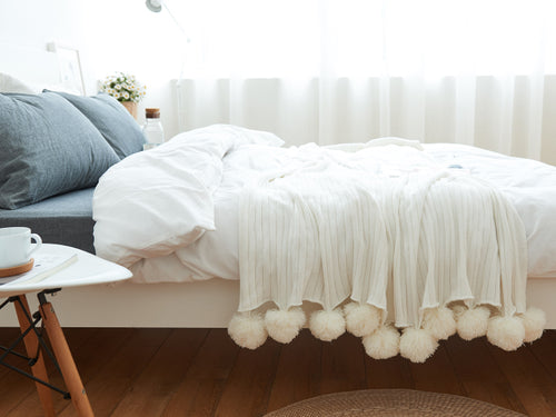 High Quality cotton throw pompom blanket - Cream (B-23)