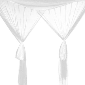 Decor- Stylish Four Corner Post Canopy Mosquito Net white (D-13)