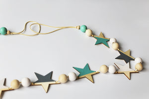 Decor- Wooden Star Wall Flag / Garland - Blue (D-17.2)