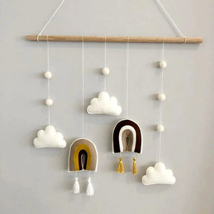 Decor -Wall Hanging Felt Clouds and Rainbow - Brown tones (KDN-1)