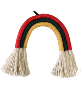 Decor -Nordic Style Wall Hanging Weaving Rainbow -Red/Green/Yellow tones (KDN-2.1)