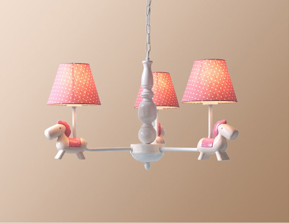 Lighting - Kids Pink Horse Chandelier (L-13)