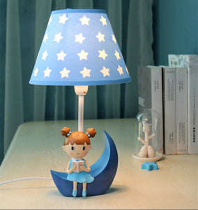 Lighting - Lovely Blue Girl reading a book table lamp (L-19)