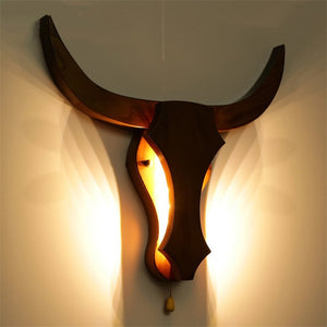 Lighting - Solid Wood Ox Head Wall Lamp (L-24)