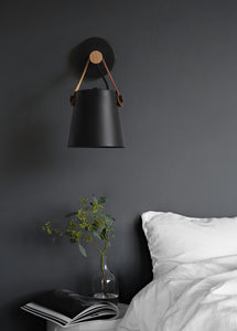 Lighting -Nordic style Iron , Wood & Leather Sconces / Wall Lamp (L-39)