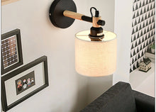 Lighting -  Oak / Metal & Fabric Wall Lamp (L-42)