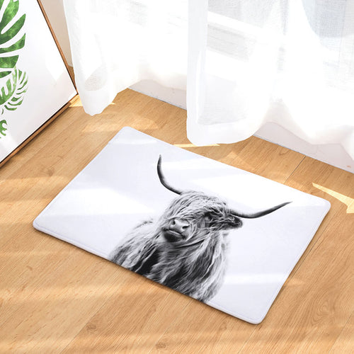 Anti Slip Floor Mat- Highlander cow  - (M-01)