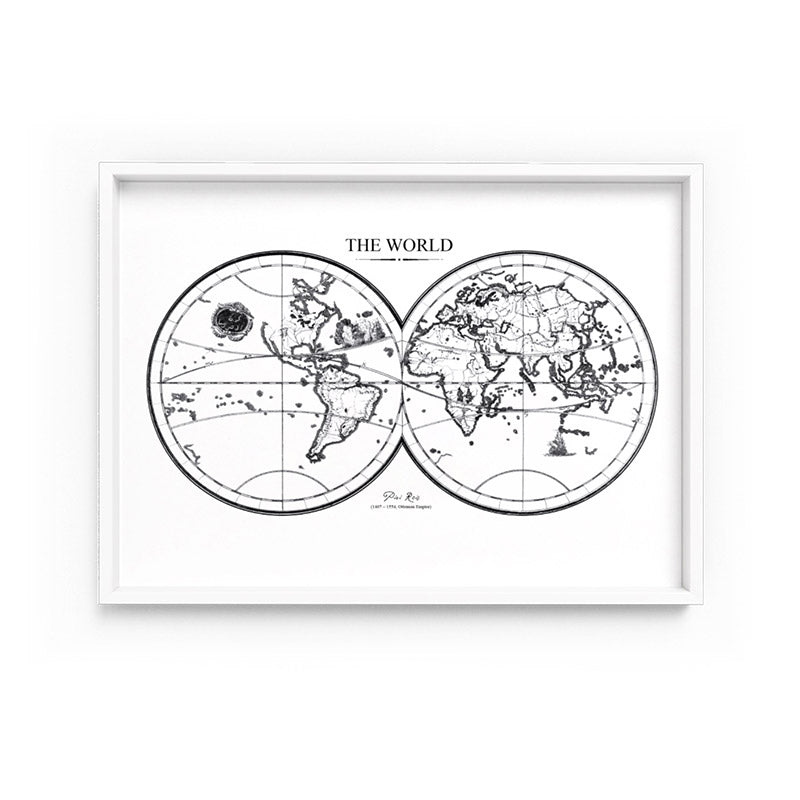 Black And White World Map Framed.Wall Art Black White World Map Framed Unframed Art Print A 587