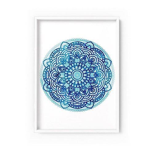 Wall art- Mandala Watercolour Blues I  -  Framed/ Unframed Art print (A-714)
