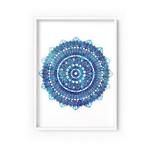 Wall art- Mandala Watercolour Blues II -  Framed/ Unframed Art print (A-715)