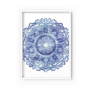 Wall art- Mandala in Distressed Nautical Watercolours-  Framed/ Unframed Art print (A-718)