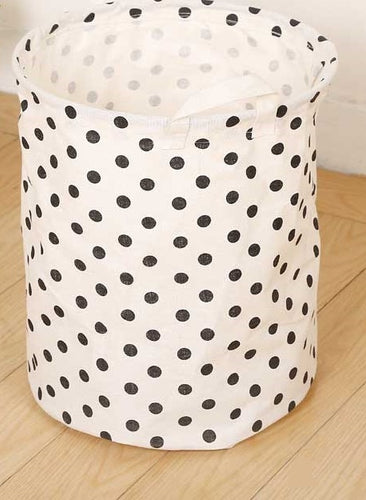 Storage / Decor- B&W Polka Dots Waterproof Laundry Basket /Storage Basket (S-7 )