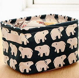 Storage/ Decor - Cute Linen rectangle storage basket No.6 (S-8.5)