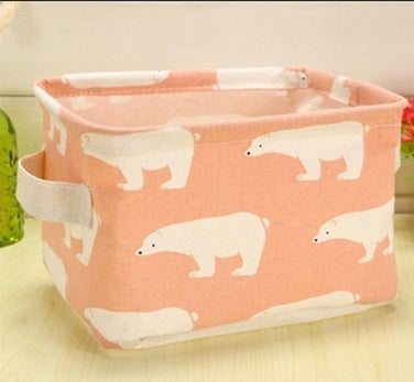 Storage/ Decor - Cute Linen rectangle storage basket No.1 (S-8)