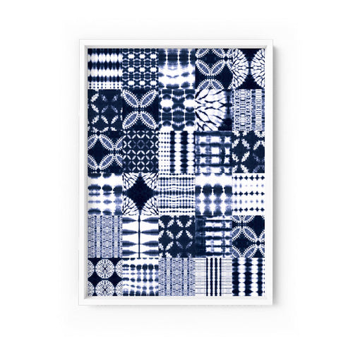 Wall art -Shibori NO.1 Indigo Patchwork Art Print (Framed/ Unframed)- (A-529)